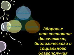 Биологическое Социальное Психологическое здоровье Здоровье – это состояние ф