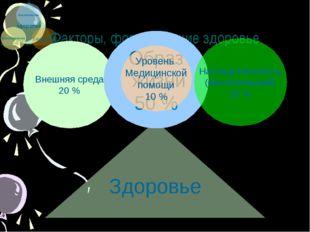 Факторы, формирующие здоровье Здоровье Внешняя среда 20 % Образ жизни 50 % На