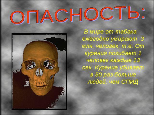 В мире от табака ежегодно умирают 3 млн. человек, т.е. От курения погибает 1...