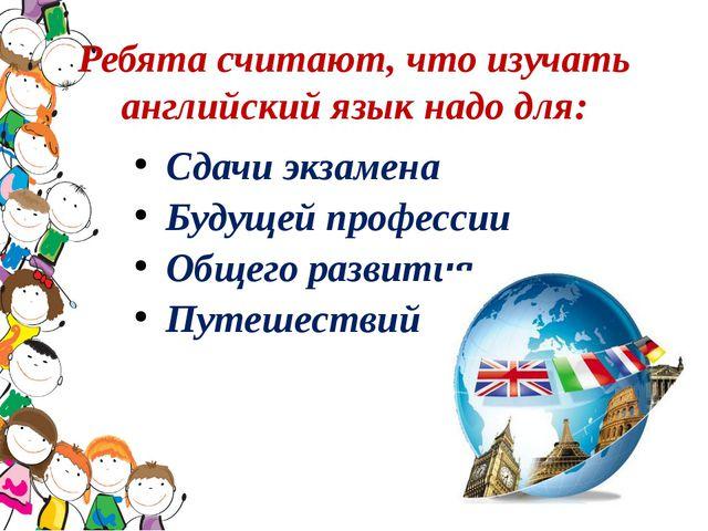 Ребята считают, что изучать английский язык надо для: Сдачи экзамена Будущей...