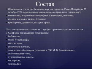 Официальное открытие Академии наук состоялось в Санкт-Петербурге 27 декабря 1