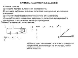 ПРИМЕРЫ ЛАБОРАТОРНЫХ ЗАДАНИЙ В бланке ответов: 1) опишите порядок выполнения