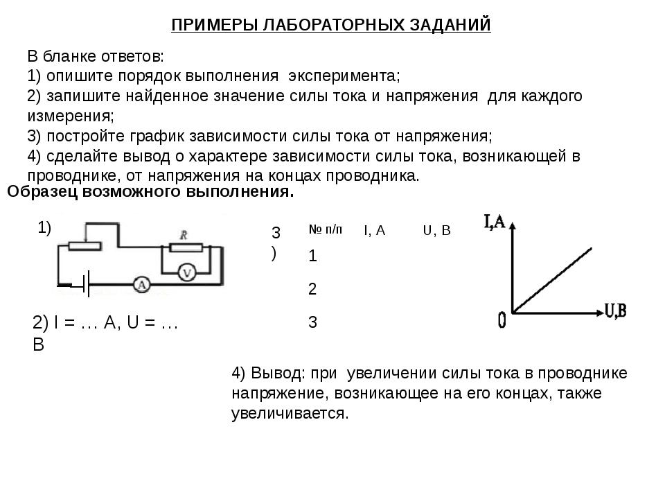 ПРИМЕРЫ ЛАБОРАТОРНЫХ ЗАДАНИЙ В бланке ответов: 1) опишите порядок выполнения...