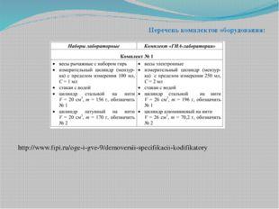 Перечень комплектов оборудования: http://www.fipi.ru/oge-i-gve-9/demoversii-s