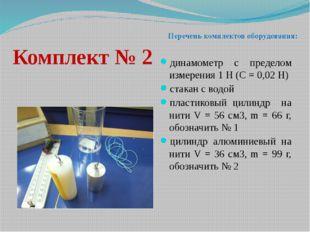 Комплект № 2 динамометр с пределом измерения 1 Н (С = 0,02 Н) стакан с водой