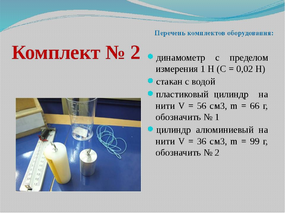 Комплект № 2 динамометр с пределом измерения 1 Н (С = 0,02 Н) стакан с водой...