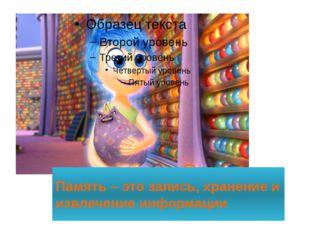 Память – это запись, хранение и извлечение информации