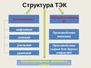 Структура ТЭК Добывающая Перерабатывающая нефтяная газовая угольная урановая