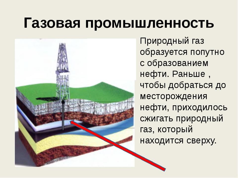 Газовая промышленность Природный газ образуется попутно с образованием нефти....