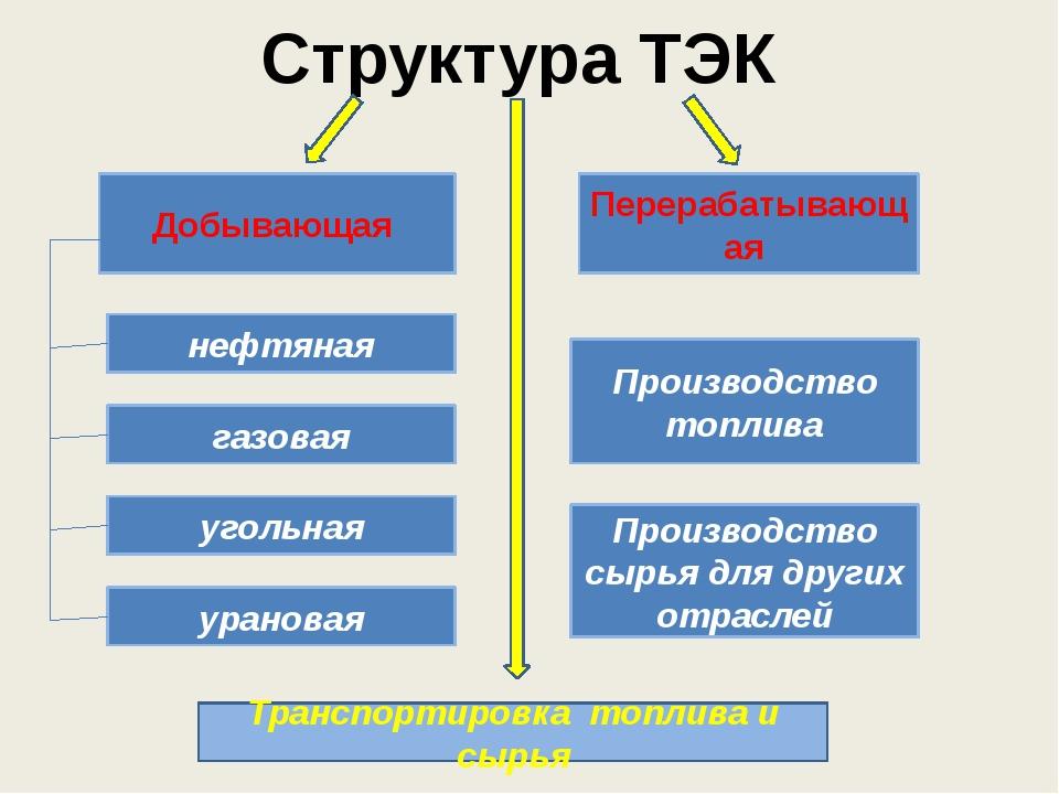 Структура ТЭК Добывающая Перерабатывающая нефтяная газовая угольная урановая...