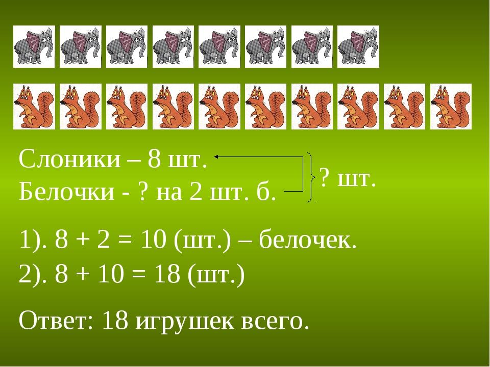 Слоники – 8 шт. Белочки - ? на 2 шт. б. ? шт. 1). 8 + 2 = 10 (шт.) – белочек....