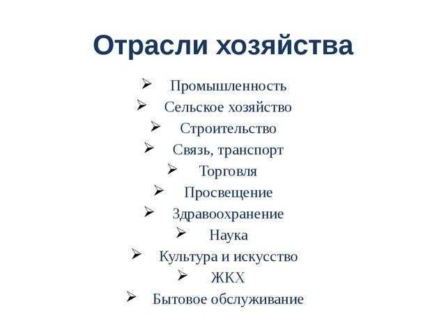 Отрасли хозяйства Промышленность Сельское хозяйство Строительство Связь, тран...