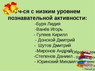 Уч-ся с низким уровнем познавательной активности: -Буря Лидия -Ванёв Игорь -