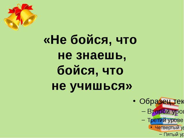 «Не бойся, что не знаешь, бойся, что не учишься»