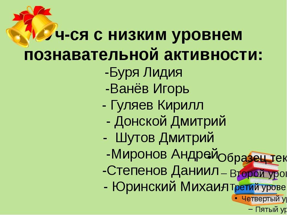 Уч-ся с низким уровнем познавательной активности: -Буря Лидия -Ванёв Игорь -...