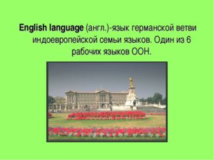 English language (англ.)-язык германской ветви индоевропейской семьи языков.