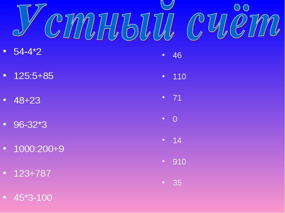 54-4*2 125:5+85 48+23 96-32*3 1000:200+9 123+787 45*3-100 46 110 71 0 14 910 35