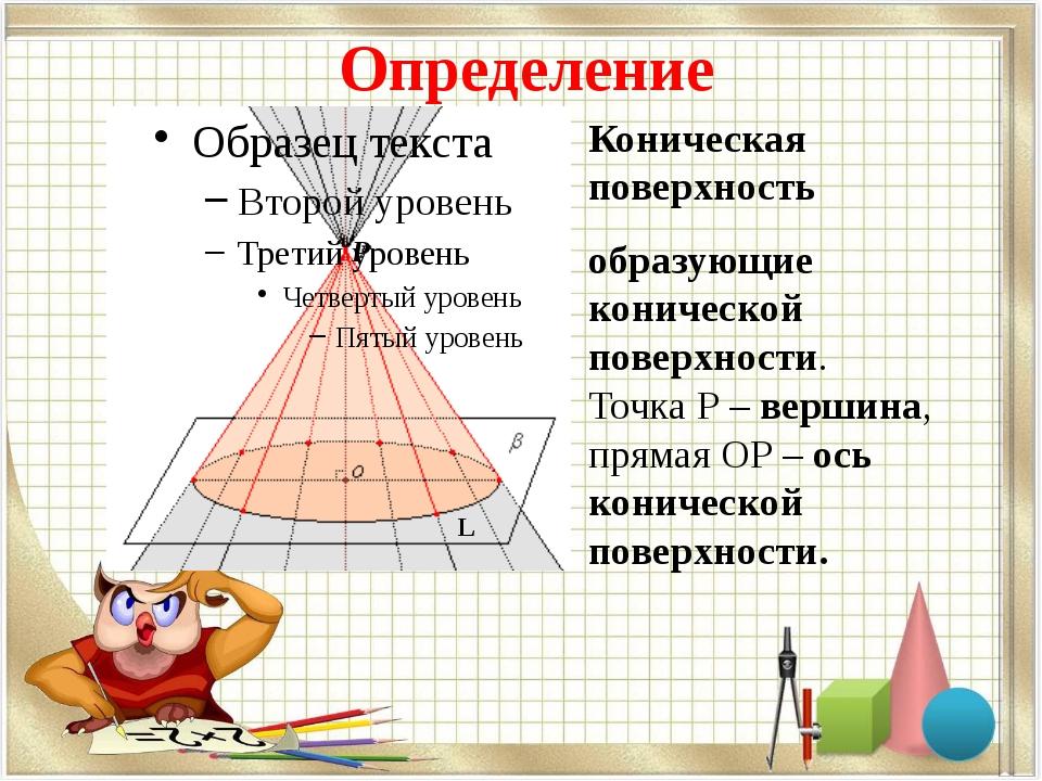 Определение Р L Коническая поверхность образующие конической поверхности. Точ...