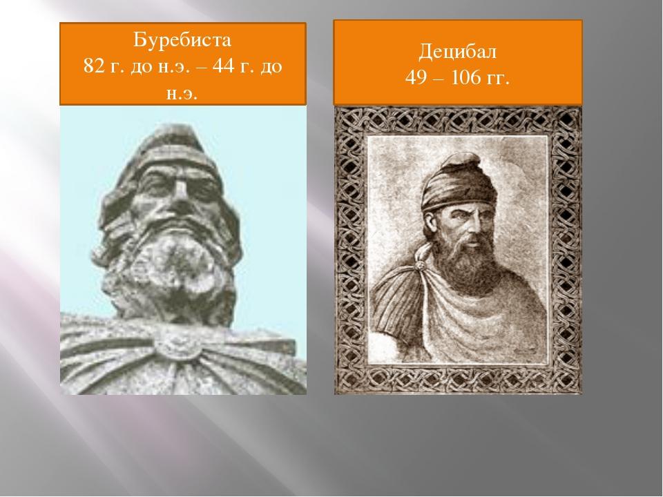 Буребиста 82 г. до н.э. – 44 г. до н.э. Децибал 49 – 106 гг.
