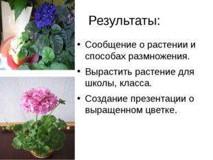 Результаты: Сообщение о растении и способах размножения. Вырастить растение д
