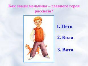 Как звали мальчика – главного героя рассказа? 1. Петя 2. Коля 3. Витя