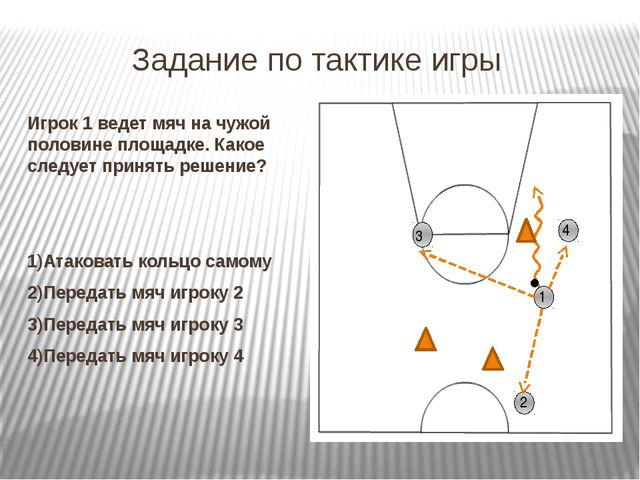Задание по тактике игры Игрок 1 ведет мяч на чужой половине площадке. Какое с...