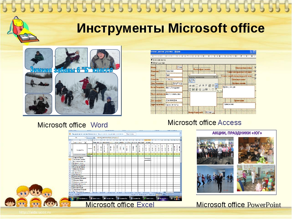 Microsoft office Word Microsoft office Excel Microsoft office Access Инструме...