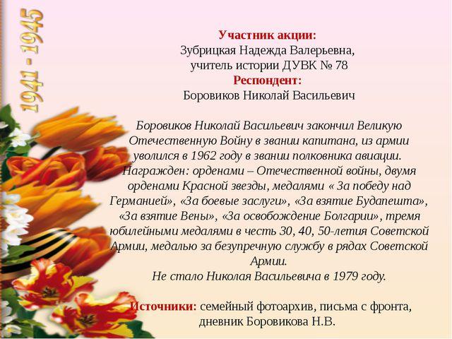 Участник акции: Зубрицкая Надежда Валерьевна, учитель истории ДУВК № 78 Респ...