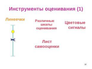 Инструменты оценивания (1) Линеечки Различные шкалы оценивания Лист самооценк