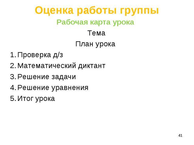Оценка работы группы Рабочая карта урока Тема План урока Проверка д/з Математ...