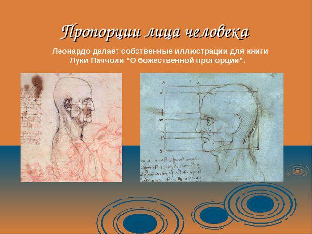 Пропорции лица человека Леонардо делает собственные иллюстрации для книги Лук...