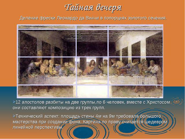 Тайная вечеря Деление фрески Леонардо да Винчи в попорциях золотого сечения....