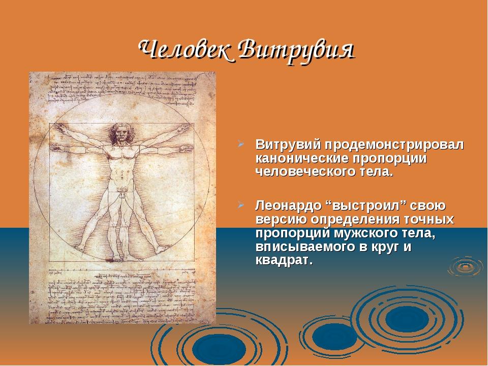 Человек Витрувия Витрувий продемонстрировал канонические пропорции человеческ...