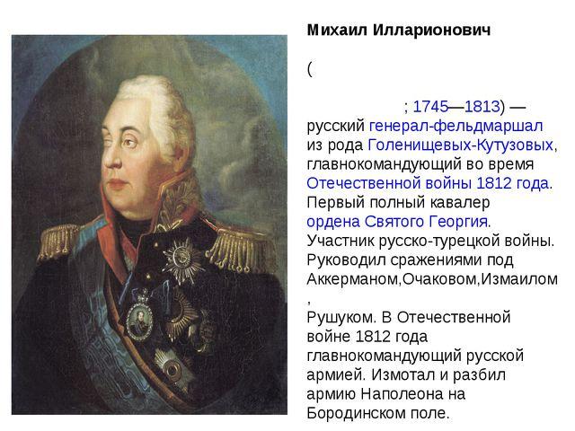 Михаил Илларионович Голени́щев-Куту́зов (светле́йший князь Голени́щев-Куту́зо...