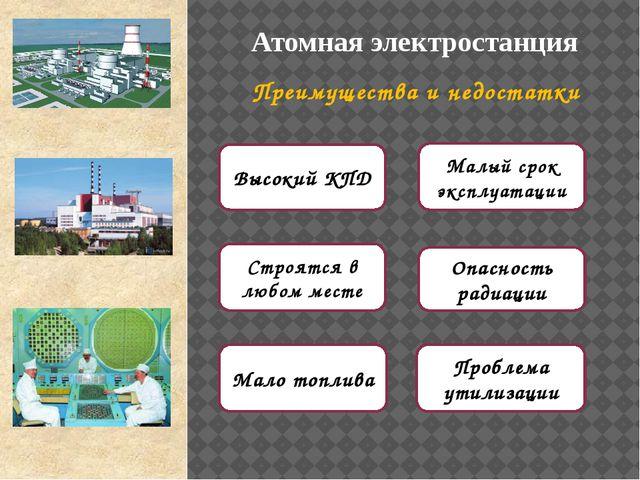 АЭС Преимущества и недостатки Строятся в любом месте Мало топлива Высокий КПД...