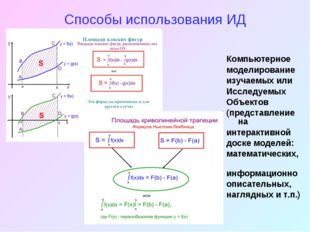 Способы использования ИД Компьютерное моделирование изучаемых или Исследуемых