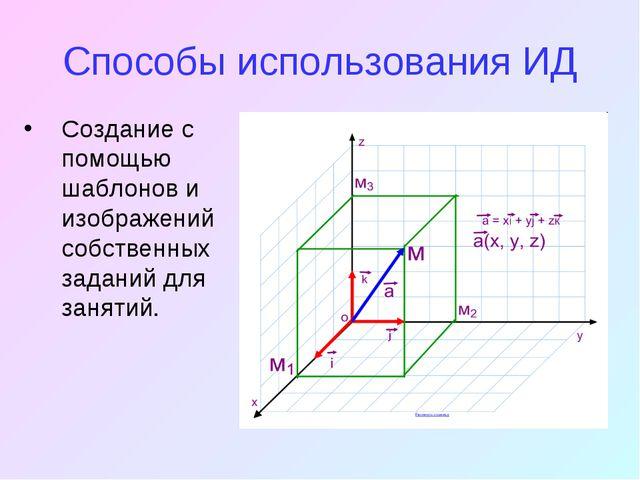 Способы использования ИД Создание с помощью шаблонов и изображений собственн...