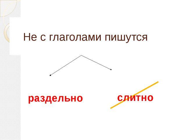 Не с глаголами пишутся раздельно слитно