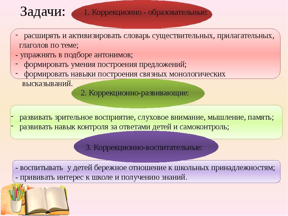 Задачи: расширять и активизировать словарь существительных, прилагательных, г...