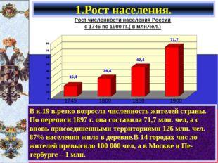 В к.19 в.резко возросла численность жителей страны. По переписи 1897 г. она с