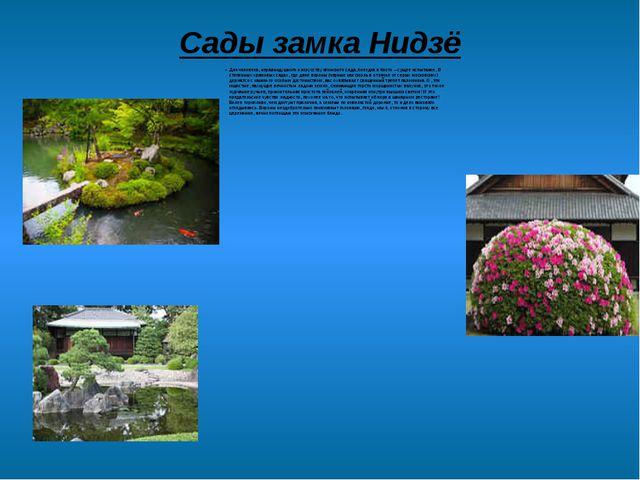Сады замка Нидзё Для человека, неравнодушного к искусству японского сада, пое...