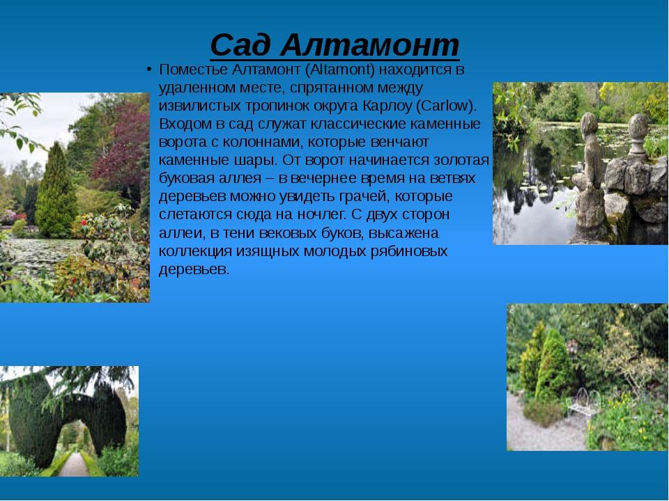 Сад Алтамонт Поместье Алтамонт (Altamont) находится в удаленном месте, спрята...