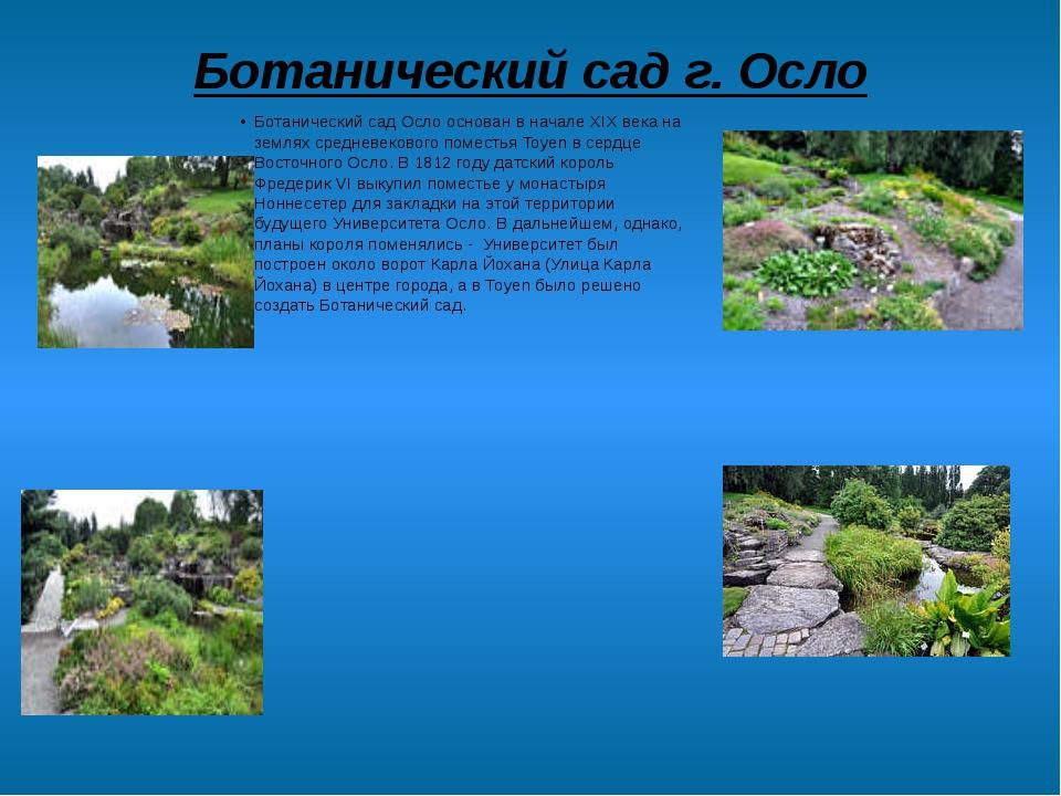 Ботанический сад г. Осло Ботанический сад Осло основан в начале XIX века на з...