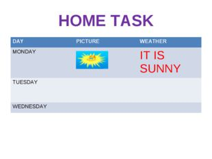 HOME TASK DAY	PICTURE	WEATHER MONDAY		IT IS SUNNY TUESDAY		 WEDNESDAY