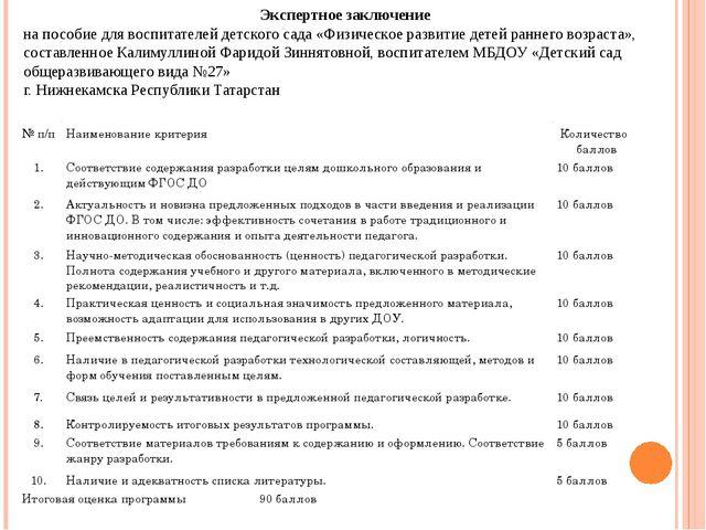 Экспертное заключение на пособие для воспитателей детского сада «Физическое...