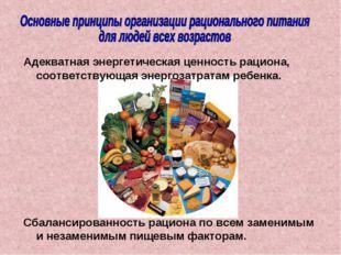 Сбалансированность рациона по всем заменимым и незаменимым пищевым факторам.
