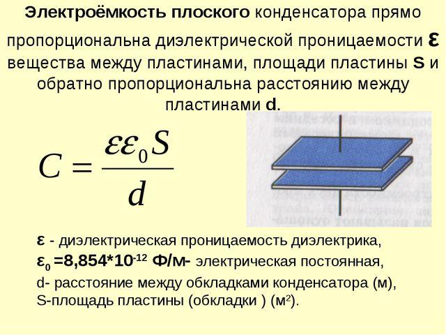 Электроёмкость плоского конденсатора прямо пропорциональна диэлектрической пр...