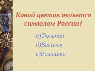 Какой цветок является символом России? а)Тюльпан б)Василек в)Ромашка