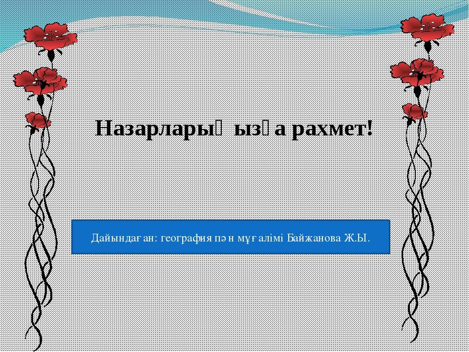 Назарларыңызға рахмет! Дайындаған: география пән мұғалімі Байжанова Ж.Ы.