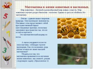 Математика в жизни животных и насекомых. Мир животных - богатый и разнообраз
